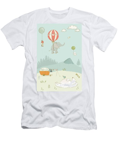 Men's T-Shirt (Athletic Fit) featuring the photograph Elephant And Polar Bear Whimsical Art For Kids by Matthias Hauser