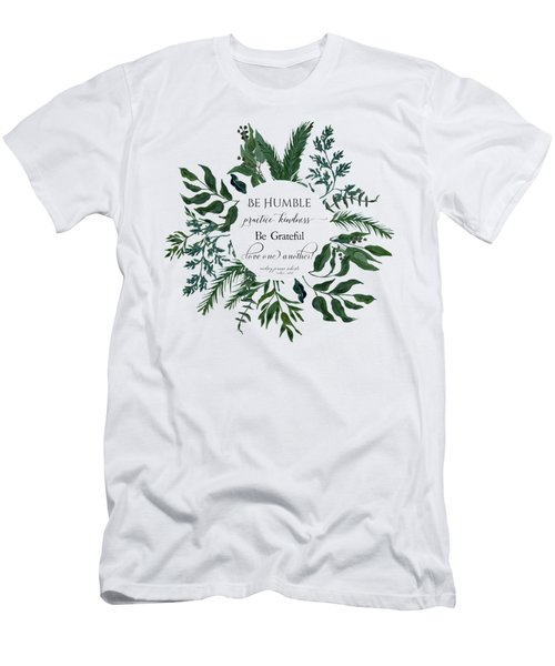 Emerald Wild Forest Foliage Watercolor Men's T-Shirt (Athletic Fit)