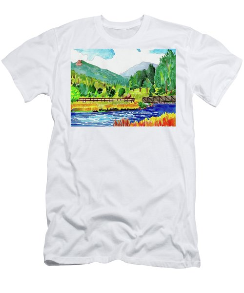 Men's T-Shirt (Athletic Fit) featuring the painting Evergreen Lake Spring Watercolor by Dan Miller