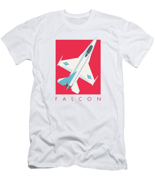 F-16 Falcon Fighter Jet Aircraft - Crimson Men's T-Shirt (Athletic Fit)