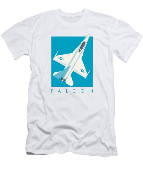 F-16 Falcon Fighter Jet Aircraft - Cyan Men's T-Shirt (Athletic Fit)