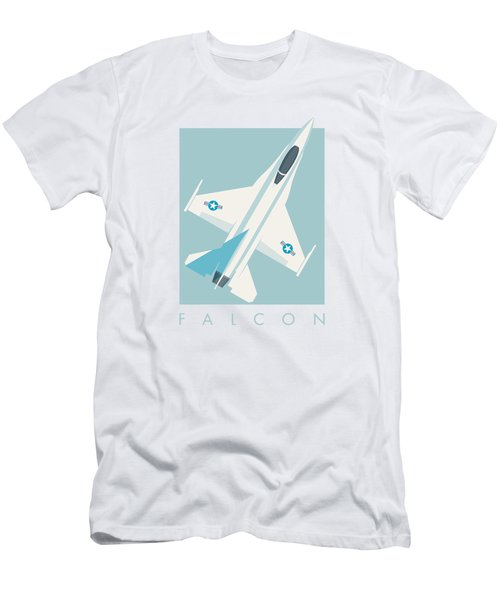 F-16 Falcon Fighter Jet Aircraft - Sky Men's T-Shirt (Athletic Fit)