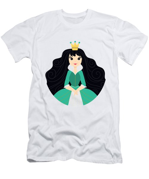Fairy Tale Princess In A Green Dress With Her Story Book Castle Men's T-Shirt (Athletic Fit)