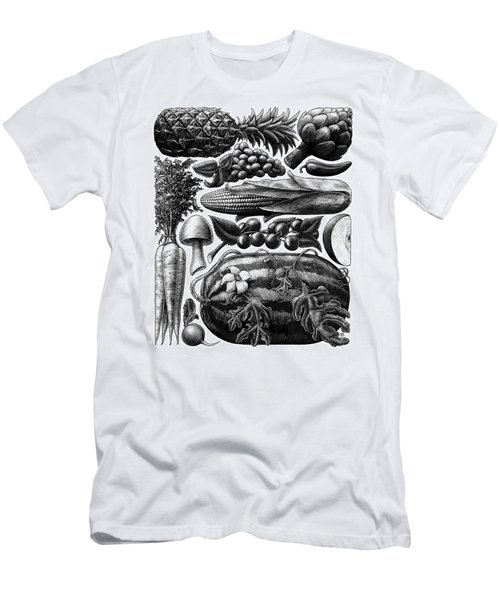 Men's T-Shirt (Athletic Fit) featuring the drawing Farmer's Market - Bw by Clint Hansen