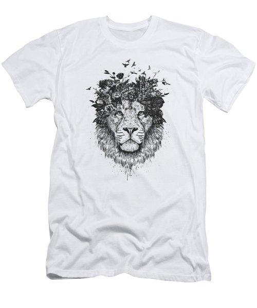 Floral Lion Men's T-Shirt (Athletic Fit)