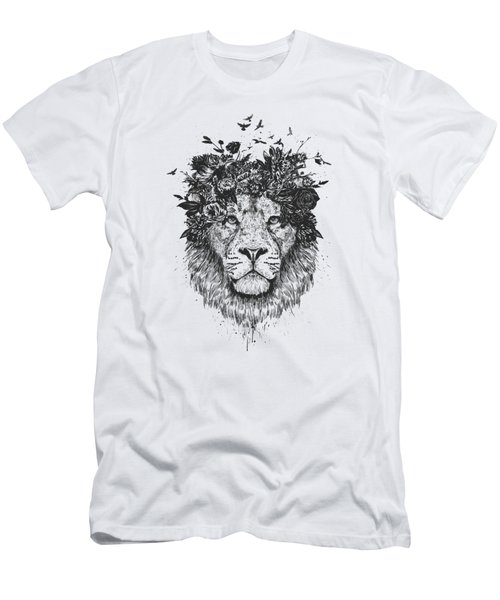 Floral Lion Men's T-Shirt (Athletic Fit)