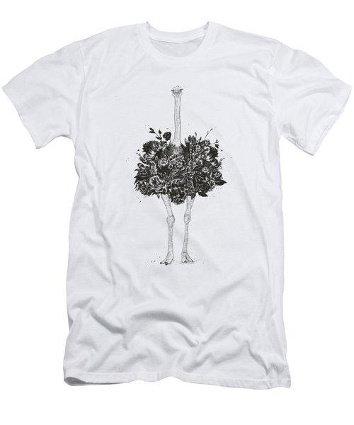 Floral Ostrich Men's T-Shirt (Athletic Fit)