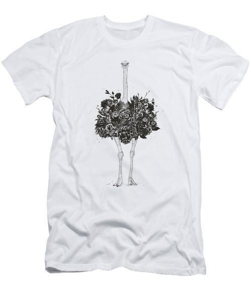 Floral Ostrich Men's T-Shirt (Athletic Fit)