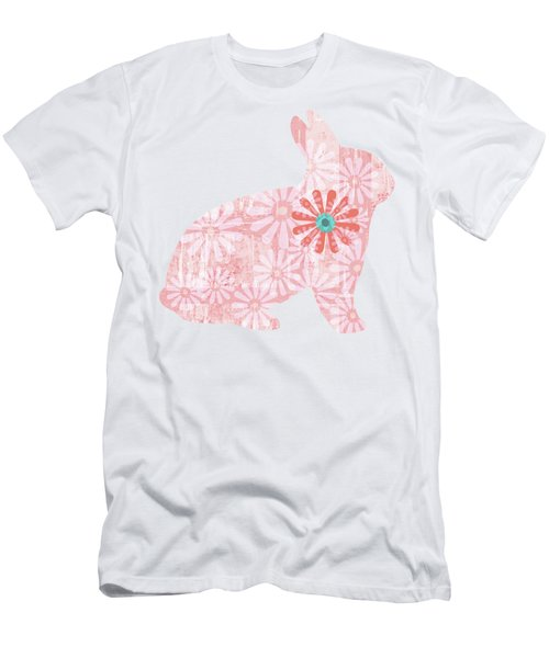 Floral Rabbit In Living Coral I Men's T-Shirt (Athletic Fit)