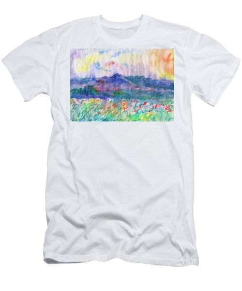 Men's T-Shirt (Athletic Fit) featuring the painting Flowering Meadow by Irina Dobrotsvet