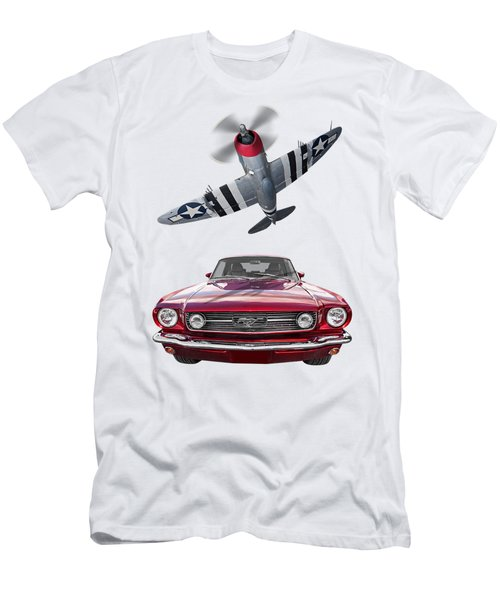 Fly Past - 1966 Mustang With P47 Thunderbolt Men's T-Shirt (Athletic Fit)