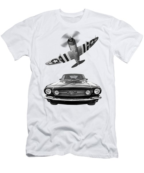 Fly Past - 1966 Mustang With P47 Thunderbolt In Black And White Men's T-Shirt (Athletic Fit)