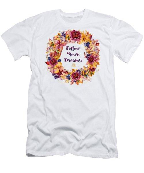 Follow Your Dreams Autumn Floral Wreath Lady Bug Typography Art Men's T-Shirt (Athletic Fit)