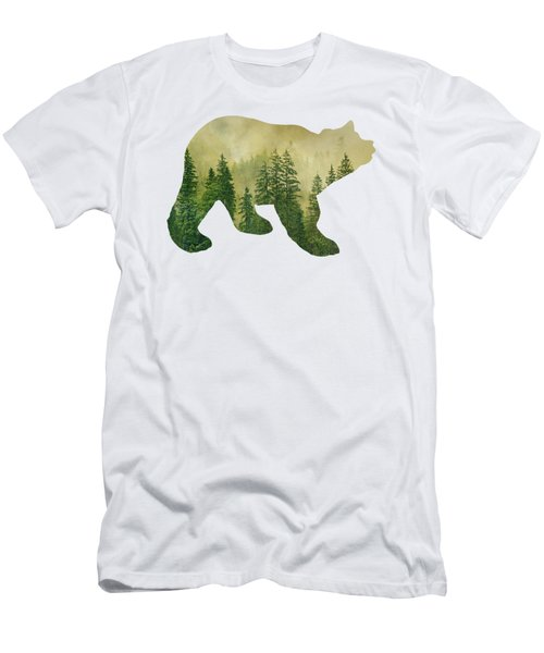 Forest Black Bear Silhouette Men's T-Shirt (Athletic Fit)