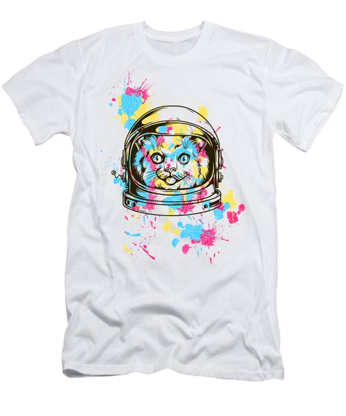 Funny Colorful Cat Astronaut Men's T-Shirt (Athletic Fit)