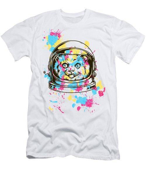 Funny Colorful Cat Astronaut Men's T-Shirt (Athletic Fit)