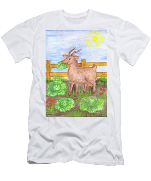 Men's T-Shirt (Athletic Fit) featuring the painting Funny Goat And Cabbage by Irina Dobrotsvet