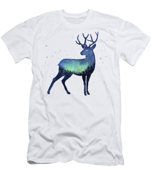 Galaxy Reindeer Silhouette Men's T-Shirt (Athletic Fit)