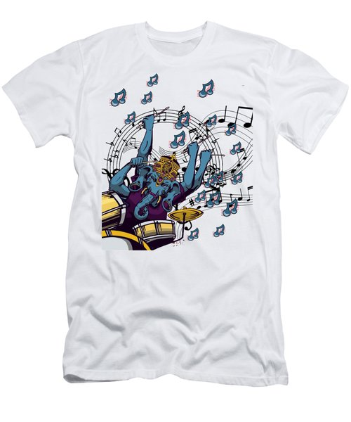 Ganesha Drummer Art Original Artwork Men's T-Shirt (Athletic Fit)