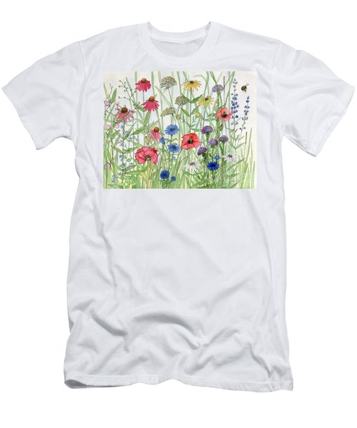 Garden Flower Medley Watercolor Men's T-Shirt (Athletic Fit)