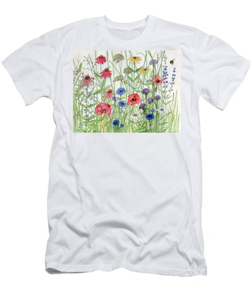 Garden Flower Medley Watercolor Men's T-Shirt (Athletic Fit)