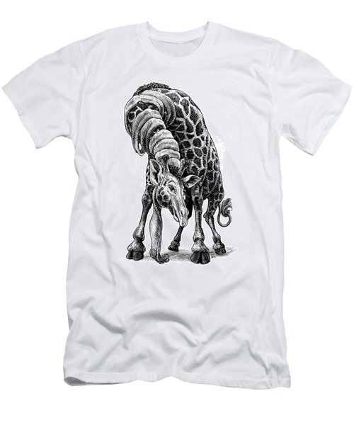 Men's T-Shirt (Athletic Fit) featuring the drawing Giraffe by Clint Hansen
