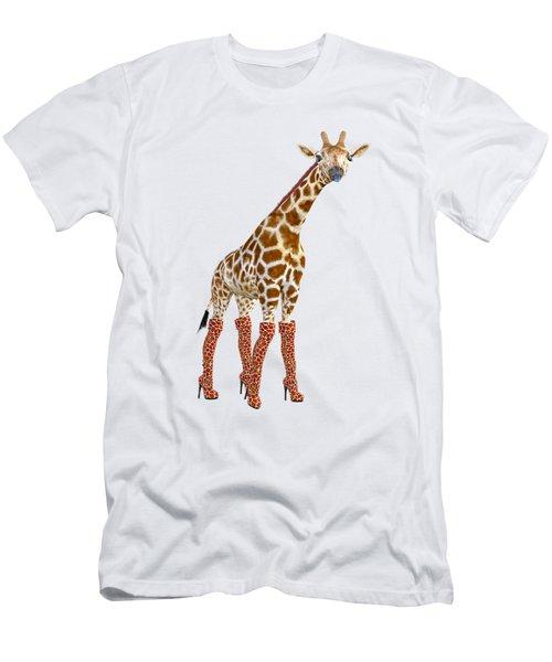 Giraffe Funny Pose Men's T-Shirt (Athletic Fit)