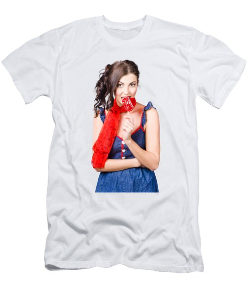 Glamorous Girl Eating Lollipop. Eat Your Heart Out Men's T-Shirt (Athletic Fit)