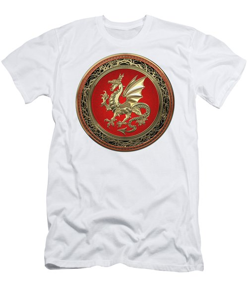 Gold Winged Norse Dragon - Icelandic Viking Landvaettir On Red And Gold Medallion Over White Leather Men's T-Shirt (Athletic Fit)