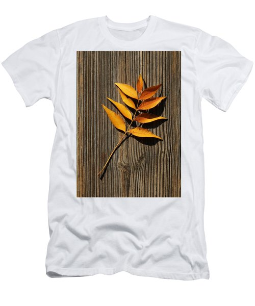 Men's T-Shirt (Athletic Fit) featuring the photograph Golden Autumn Leaves On Wood by Debi Dalio