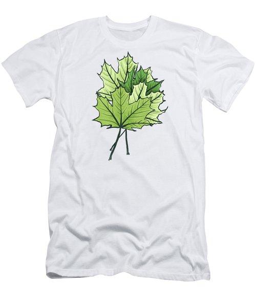 Green Maple Leaves On Vibrant Orange Men's T-Shirt (Athletic Fit)