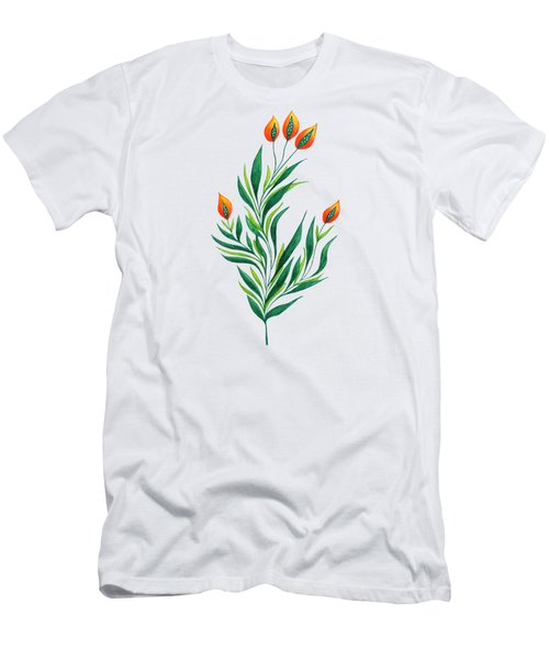 Green Plant With Orange Buds Men's T-Shirt (Athletic Fit)