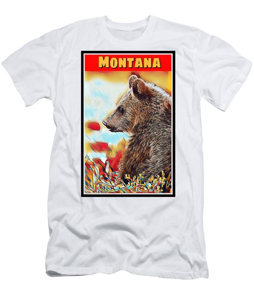 Grizzly Bear Art Montana Wildlife Travel Poster Men's T-Shirt (Athletic Fit)