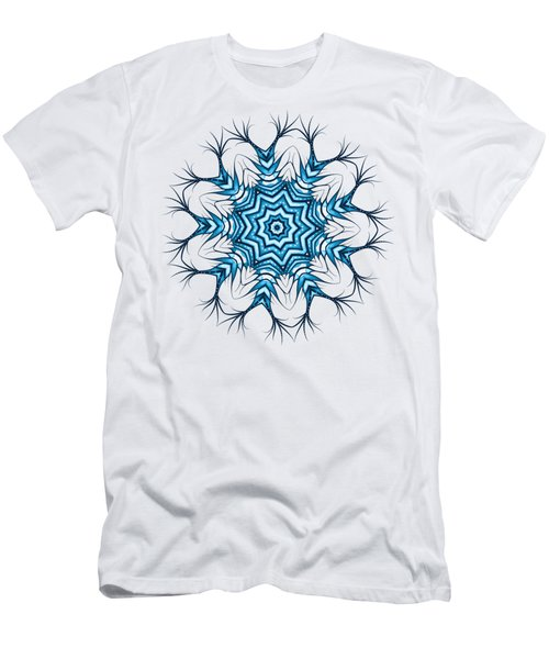 Hairy Snowflake Mandala In Blue Men's T-Shirt (Athletic Fit)