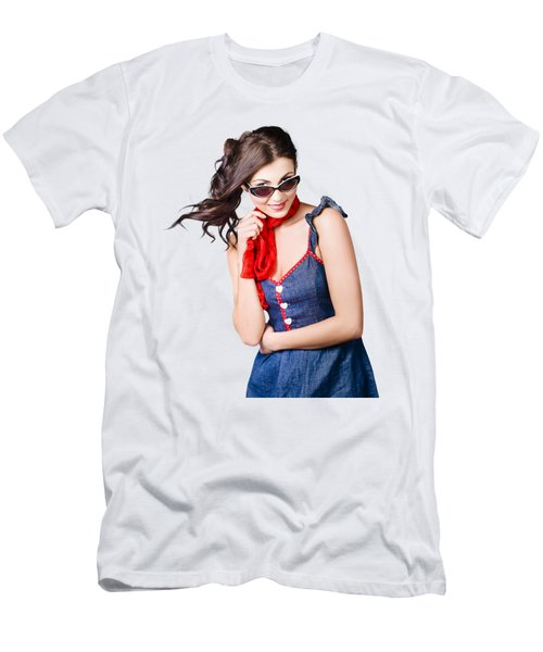 Happy Smiling Young Pinup Girl In Rockabilly Style Men's T-Shirt (Athletic Fit)