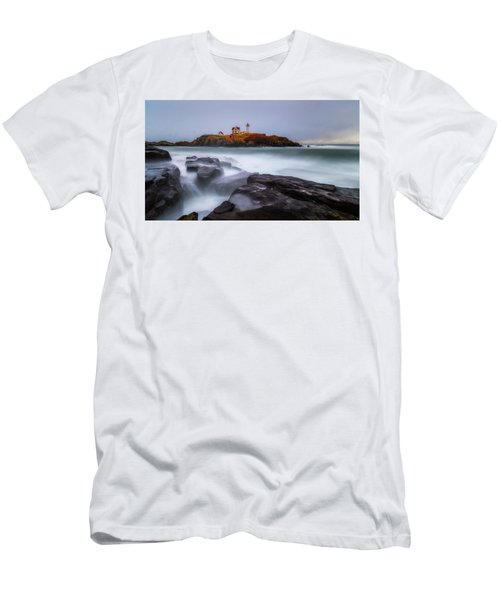 Men's T-Shirt (Athletic Fit) featuring the photograph Holiday Lights, Nubble Lighthouse York Me. by Michael Hubley