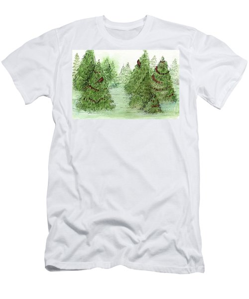 Holiday Trees Woodland Landscape Illustration Men's T-Shirt (Athletic Fit)