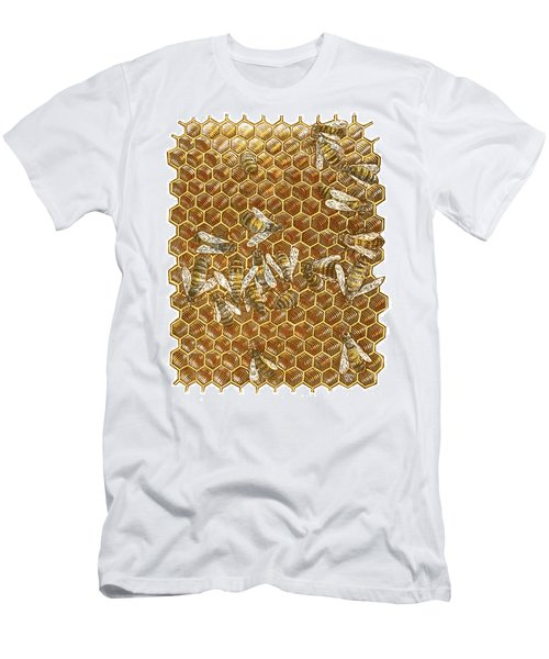 Men's T-Shirt (Athletic Fit) featuring the drawing Honey Bees by Clint Hansen