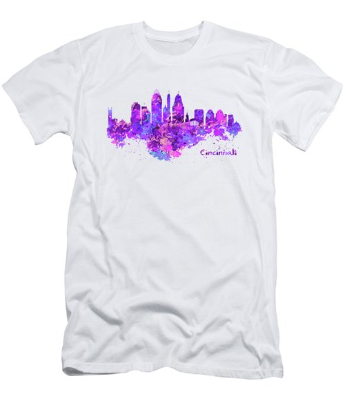 Horizontal Watercolor Skyline Of Cincinnati Men's T-Shirt (Athletic Fit)