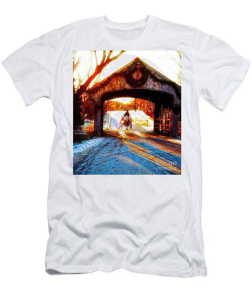 Men's T-Shirt (Athletic Fit) featuring the photograph Horse Drawn Carriage Covered Bridge Long Grove Il 014060036 by Tom Jelen