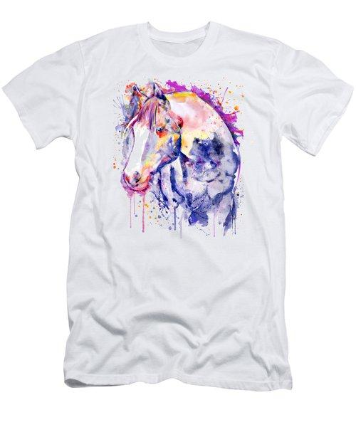 Horse Head Watercolor Portrait Men's T-Shirt (Athletic Fit)