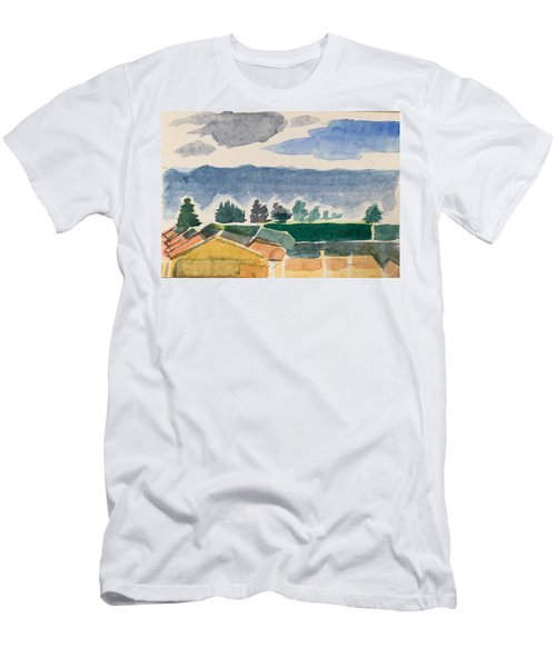 Houses, Trees, Mountains, Clouds Men's T-Shirt (Athletic Fit)