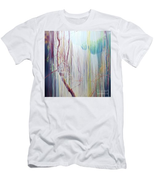 Ice Tiger - A Large Oil On Canvas By Gill Bustamante Of A Tiger By A Waterfall Men's T-Shirt (Athletic Fit)