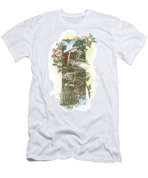 Men's T-Shirt (Athletic Fit) featuring the drawing Iowa Covered Bridge by Clint Hansen