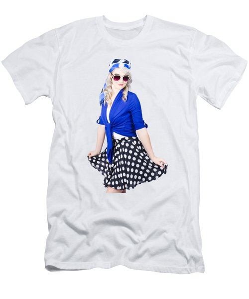 Isolated Pin-up Woman Posing Men's T-Shirt (Athletic Fit)