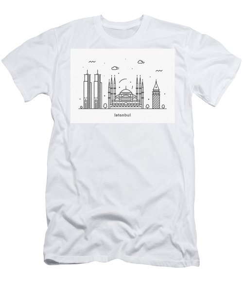 Istanbul Cityscape Travel Poster Men's T-Shirt (Athletic Fit)