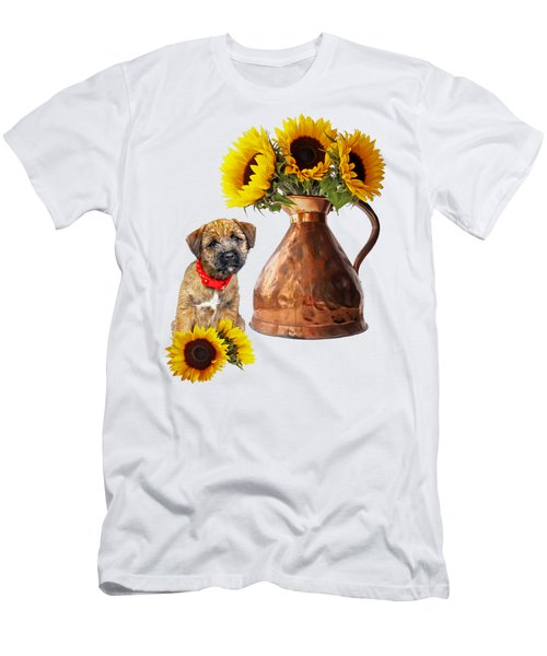It Wasn't Me - Border Terrier Puppy With Sunflowers Men's T-Shirt (Athletic Fit)