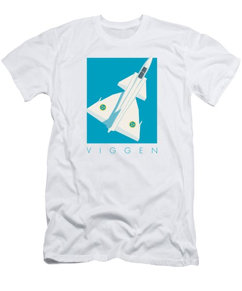 J37 Viggen Swedish Air Force Fighter Jet Aircraft - Blue Men's T-Shirt (Athletic Fit)