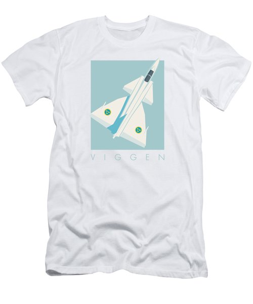 J37 Viggen Swedish Air Force Fighter Jet Aircraft - Sky Men's T-Shirt (Athletic Fit)