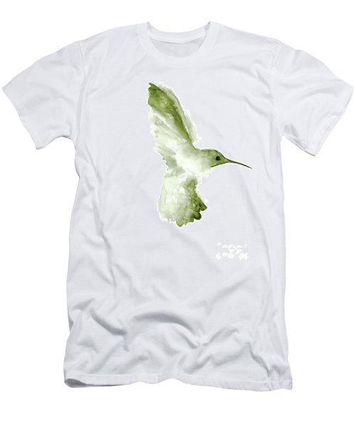 Khaki Green Hummingbird In Flight Men's T-Shirt (Athletic Fit)